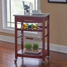 Portable Rolling Kitchen Island Cart Granite Top W Wine Rack Drawer