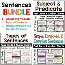 Complete Sentence Anchor Chart Sentences Task Cards And Anchor Charts Bundle