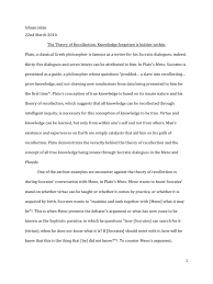 an essay on plato s theory of recollection plato socrates