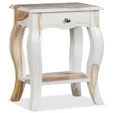 Table de chevet blanc et bois - Achat / Vente pas cher