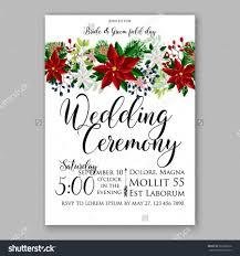 wedding invitation card template with winter bridal bouquet wreath flower poinsettia