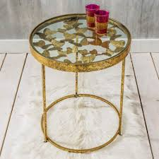 Metal Side Tables For Bedroom Gold Butterfly Side Table Graham Green Gold Metallic