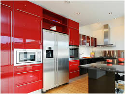 red kitchen cabinets with black glaze onvacations wallpaper