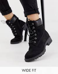New Look wide fit lace up flat hiker boot in black   Boots, Wide fit ...