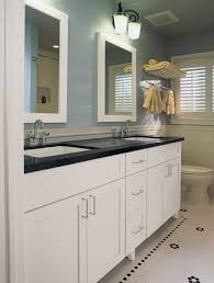 sky blue painted wooden cabinet drawers with white marble counter wide bathroom black top and double bathroom vanity lighting ideas combined