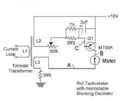 the rvi tachometer by herb adler this type of tacho has the internal toroidal transformer as the trigger sensor below are a picture of the circuit board the circuit diagram and waveforms