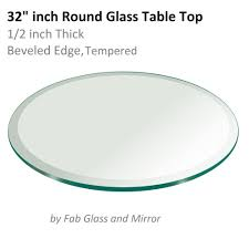 glass table top 32 inch round 1 2 inch thick beveled edge tempered 799456351353