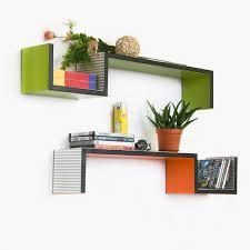 trista grass green orange s shaped leather wall shelf bookshelf floating shelf set of 2