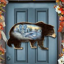 black bear wilderness nature wooden decorative door hanger 8198215h