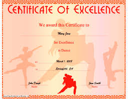 Dance Award Certificate Dance Excellence Certificate Printable Certificate