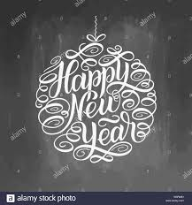 Chalkboard Sign Designs Happy New Year Lettering Greeting Card Design Circle Text