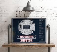 Texans Reliant Stadium Seating Chart Houston Texans Nrg Stadium Seating Chart Vintage Football Print