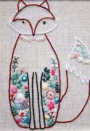 Francine the Floral Fox Embroidery Pattern -