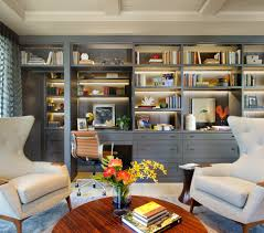 home office built in. Office Built Ins Home Transitional With Gray Armchair Round Wood Coffee Table In S