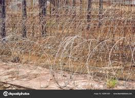 barbed wire fence prison. Barbed Wire Fence Prison Concept \u2014 Stock Photo S