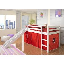 Donco Kids Twin Loft Tent Bed with Slide - White - Walmart.com