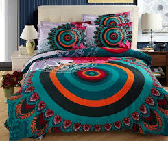 bohemia bedding sets boho style duvet cover full queen size double cotton bed sheets bedspread linen quilt peacock feather print cotton duvet cover king