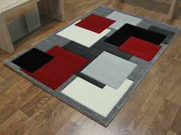 extraordinary red and grey rug square black