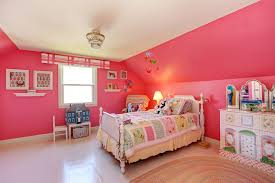Pink Girlu0027s Bedroom With White Vaulted Ceiling And Small Tiered Chandelier