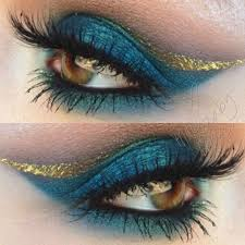 gorgeous turquoise and gold makeup look using our precious metal liquid liner in 18k double