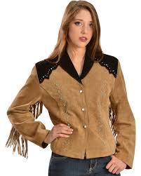 liberty wear women s suede fringe studded jacket plus brown hi res
