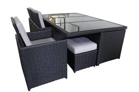 outdoor rattan wicker dining set 13 piece high back black wicker and grey cushions outdoor settings