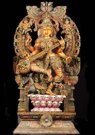 sold wood large dancing saraswati statue 73
