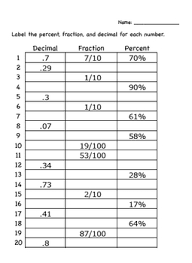 Collection Of Math Worksheets Fractions To Decimals To Percents ...
