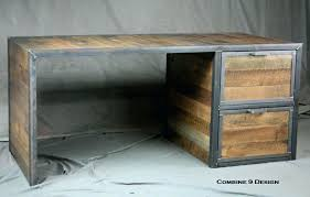 wood office cabinet. Reclaimed Wood Desk Table Custom Made With File Cabinet Drawers Steel Industrial Office .