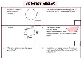exterior interior angles. interior and exterior angles problems a