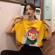 Short-sleeved T-shirt female <b>net red</b> pig 2019 <b>spring new</b> loose short ...