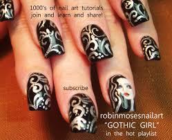 Nail Art Design - Black and Silver Filigree DIY Nail Tutorial ...