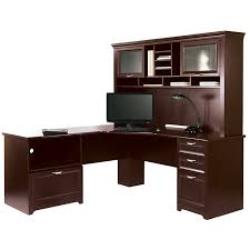 picture of l shaped desk cherry finish