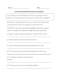 Compound Subject Commas Worksheet | Englishlinx.com Board ...