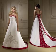 Discount 2016 Exquisite Sweetheart Red And White Wedding Dresses A