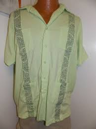Haband Men S Size Chart Vintage Haband Guayabera Wedding Shirt Cuban Cigar Lime