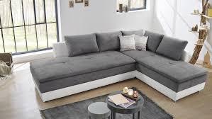 Wohnlandschaft Links Modena Ecksofa Sofa Bett In Weiß Grau
