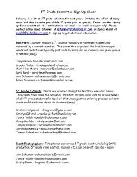 Easy Sign Up Sheet 5th Grade Committee Sign Up Sheet Windermere Pto