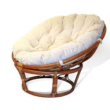 get quotations handmade rattan wicker round papasan chair with cushion colonial light brown