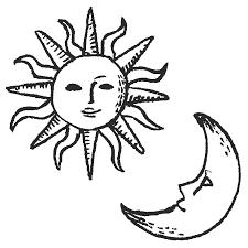 太陽と月のイラストpng えんぴつ素材