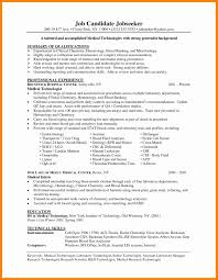 Medical Lab Technician Sample Resume Resume Template No Work