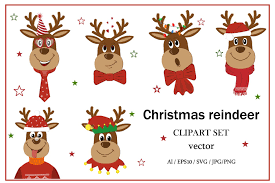 Royalty free vector download in available svg, eps & ai. Christmas Reindeer 1024778 Illustrations Design Bundles
