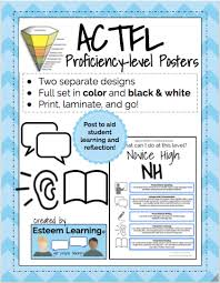 Actfl Proficiency Level Posters Of Can Do Benchmarks In