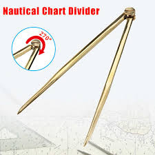 Brass Chart Dividers 168mm Nautical Chart Straight Divider Solid Brass Marine Dividing Tool Compass Portable No Rust For Architects Marine Navigation