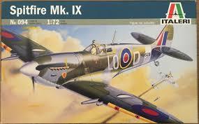 spitfire model kit. italeri 094 1/72 scale spitfire mk. ix model kit nib
