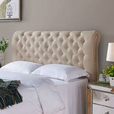 better homes and gardens rolled tufted headboard sand  walmartcom