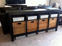 Exellent Black Sofa Table With Storage Baskets Optimizing Home Decor For Concept Ideas
