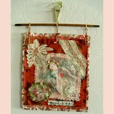 on antique cloth wall art with feltissimo handmade vintage fabric and felted wall hanging