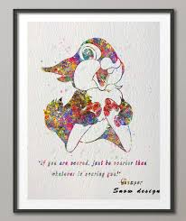 Quote Art Amazing Original Watercolor Thumper Bunny Bambi Quote Canvas Painting Wall