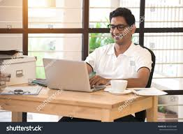 working for home office. simple for young indian man working from home office with working for home office h